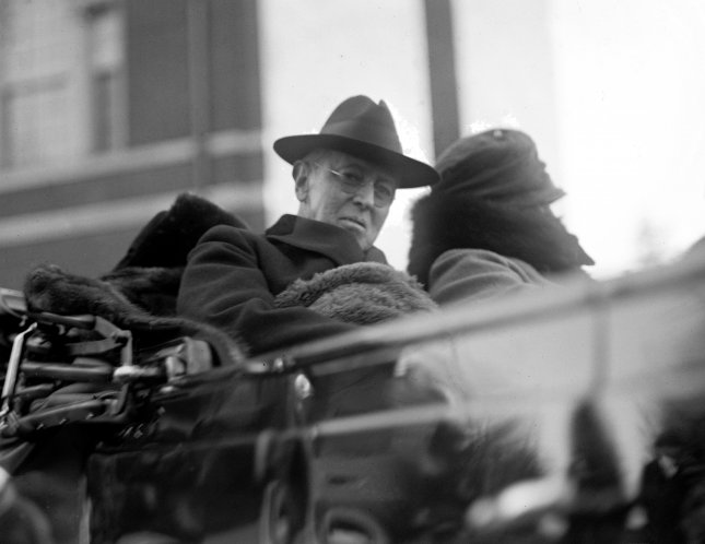 Woodrow Wilson, 28th President of the United States, is pictured in a convertible automobile in 1923, two years after leaving office. File Photo by Library of Congress/UPI