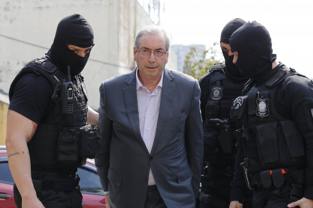 Former Brazilian House Speaker Eduardo Cunha arrives to court in Curitiba, Brazil. Cunha was sentenced to 15 years in prison for corruption involving state-run oil company Petrobras. The former politician led the impeachment proceeding against former Brazilian President Dilma Rousseff. File photo by EPA