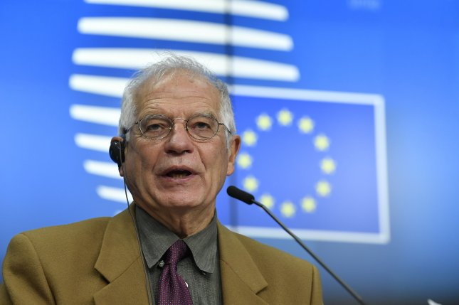 European High Representative of the Union for Foreign Affairs Josep Borrell, shown at a press conference in Brussels, Belgium, Monday, announced upcoming sanctions against Turkey Friday. Photo by John Thys/EPA-EFE