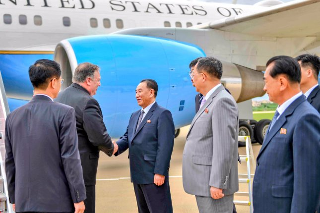 North Korean Vice Chairman Kim Yong Chol (C, could have been reshuffled in Pyongyang, according to a South Korean press report. Photo courtesy of Secretary Mike Pompeo/U.S. Department of State