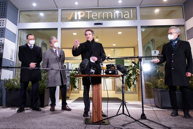 International Atomic Energy Agency Director-General Rafael Mariano Grossi (C) addresses the media after his arrival from Teheran, Iran, at the VIP Terminal of the Vienna International Airport in Schwechat, Austria, on Sunday. Photo by Florian Wieser/EPA-EFE