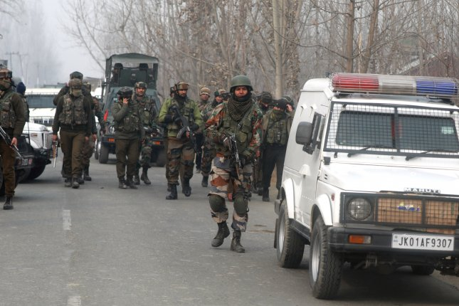 A suicide bomber rammed into a bus full of Indian troops Thursday, killing at least 36 and injuring 20 in the Kashmir region of India. Photo by Farooq Khan/EPA-EFE
