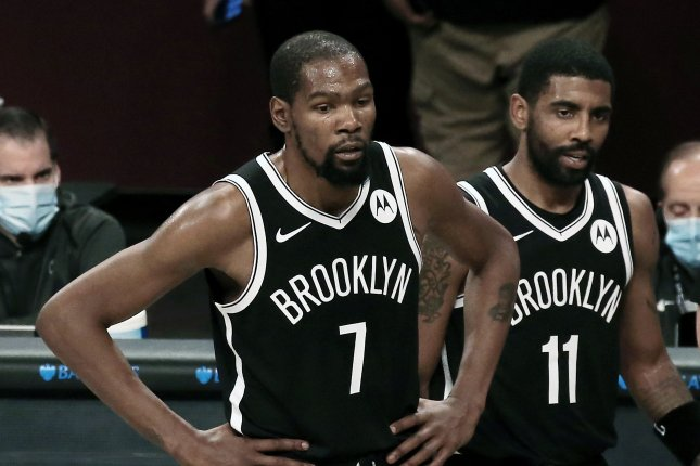 Brooklyn Nets forward Kevin Durant (L) was fined $50,000 for using offensive and derogatory language during an exchange on social media posted earlier this week. File Photo by Peter Foley/EPA-EFE