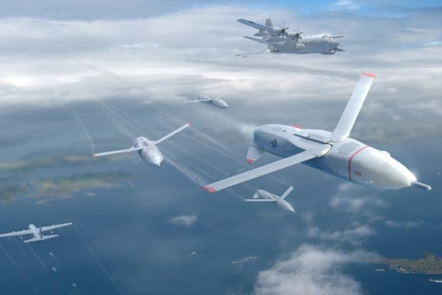 An artist rendering of Gremlin unmanned aerial systems deploying from a C-130 aircraft. Photo courtesy of Defense Advanced Research Projects Agency