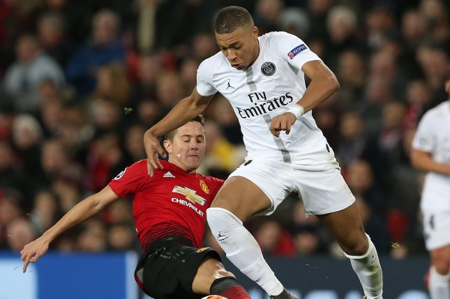 Paris Saint Germain's Kylian Mbappe tied Ronaldo's total of 14 goals in the Champions League with his second half score against Manchester United on Tuesday in Manchester, England. Photo by Nigel Roddis/EPA-EFE