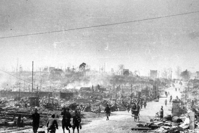 On March 9, 1945, more than 300 American B-29 bombers attacked Tokyo with incendiary bombs, killing about 100,000 people and destroying an estimated 250,000 buildings over 16 square miles. File Photo by Ishikawa Kōyō/Wikimedia