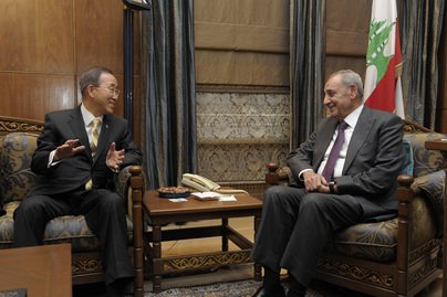 UN Secretary-General Ban Ki-moon, left, meets with Nabih Berri, Speaker of the Parliament of Lebanon, in Beirut in January 2012. Evan Schneider/UN