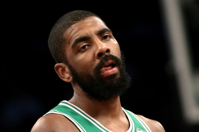 Former Boston Celtics guard Kyrie Irving was elbowed in the face during a pickup game at the Brooklyn Nets' practice facility on Tuesday. File Photo by Peter Foley/EPA-EFE