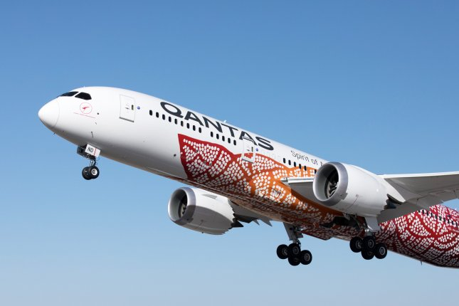 Some airlines, including Qantas, are aiming to be carbon neutral by 2050. File Photo by Brent Winstone/Qantas/EPA-EFE