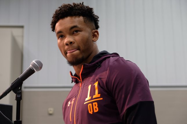 Oklahoma quarterback Kyler Murray speaks to reporters at the NFL scouting combine Friday in Indianapolis. Photo by Alex Butler/UPI
