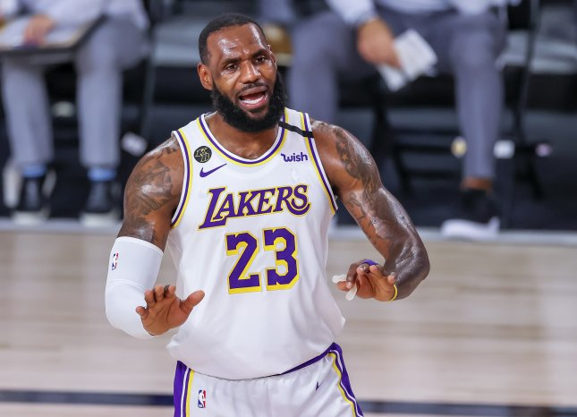 Los Angeles Lakers forward LeBron James set the NBA record for playoff wins at 162 with a victory over the Houston Rockets Tuesday in Orlando, Fla. Photo by Erik S. Lesser/EPA-EFE