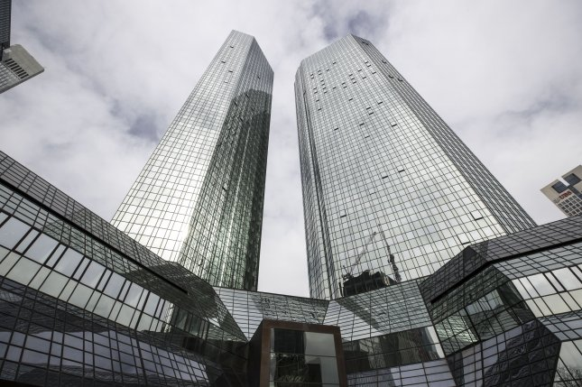 An exterior view of the twin tower headquarters of the 'Deutsche Bank' in Frankfurt Main, Germany, in 2018. Photo by Armando Babani/EPA-EFE