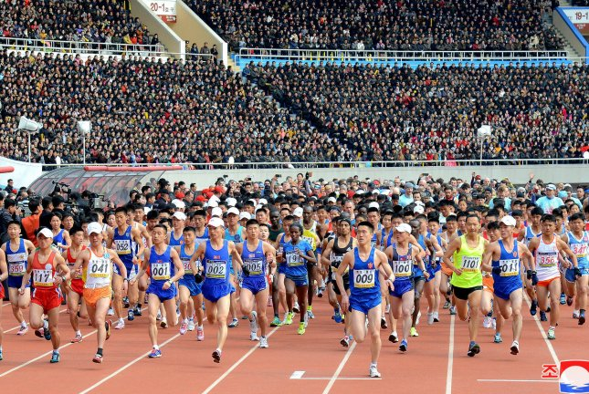 A Beijing-based tour company has canceled plans for the Pyongyang Marathon, scheduled for April. File Photo by KCNA/EPA-EFE