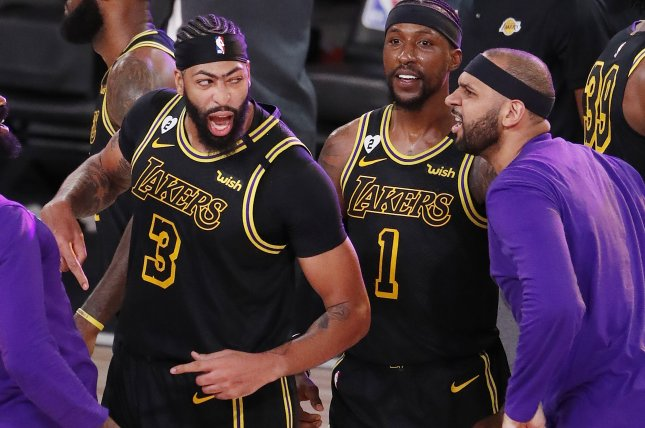 Anthony Davis (3) and the Los Angeles Lakers have a 1-0 series lead on the Miami Heat before Game 2 of the 2020 NBA Finals on Friday in Orlando, Fla. Photo by Erik S. Lesser/EPA-EFE