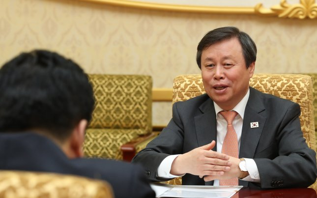 South Korean Sports and Culture Minister Do Jong-whan (R) talks with North Korean Sports Minister Kim Il-guk (unseen) during their meeting at the Mansudae Assembly Hall in Pyongyang, North Korea, 02 April 2018. A 120-member troupe of South Korean performers stages two performances in North Korea on 01 April and 03 April 2018, the first such event since 2005. Photo courtesy of EPA-EFE.