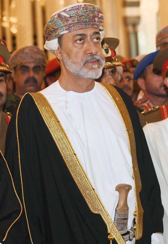 Oman's new Sultan, Haitham bin Tariq al-Said attends the funeral of Sultan Qaboos bin Said al-Said, in Muscat, Oman, on Saturday. Photo by Hamid AlQasimi/EPA-EFE