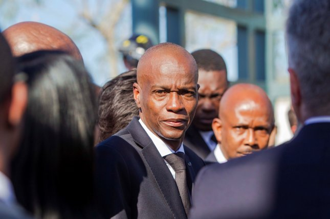 Haitian President Jovenel Moise (C) was assassinated Wednesday at his Port-au-Prince home. File Photo by Jean Marc Herve Abelard/EPA-EFE