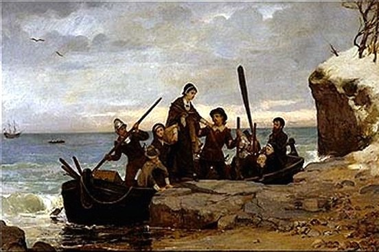 On December 21, 1620, the Pilgrims arrived at Plymouth, Mass., following a 63-day voyage from England aboard the Mayflower. Image by Henry Bacon/Pilgrim Hall Museum