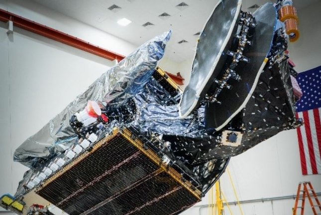 The SiriusXM SXM-8 satellite is prepared for spaceflight at Maxar Technologies laboratory in California, leading up to a launch Sunday from Florida. Photo courtesy of Maxar Technologies