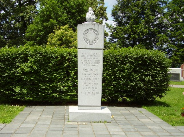 A memorial to the victims of the Marshall University football team plane crash was erected at Spring Hill Cemetery in Huntington, W.Va. On November 14, 1970, members of the Marshall University football team are among 75 casualties when Southern Airways Flight 932 crashed outside of Huntington, W.Va. File Photo courtesy of Wikimedia