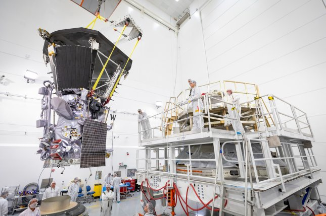 NASA's Parker Solar Probe is lifted to the third-stage rocket motor on July 11 at Astrotech Space Operations in Titusville, Fla. Photo by Ed Whitman/Johns Hopkins APL/NASA