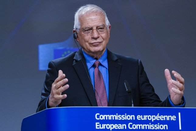 European Union foreign policy chief Josep Borrell told reporters Tuesday that the United States cannot invoke the JCPOA because it's withdrawn from it. Photo by Kenzo Tribouillard/  EPA-EFE