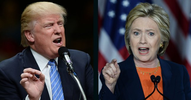 Hillary Clinton's lead over Donald Trump stands at about 0.68 of a percentage point, according to Wednesday's UPI/CVoter daily online tracking poll. UPI File Photos