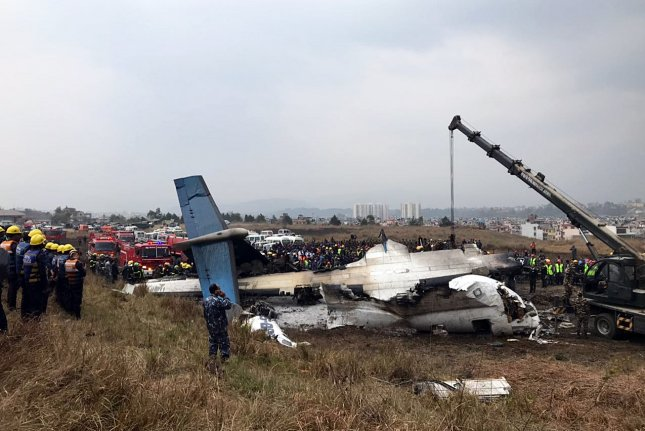 A Bangladeshi plane crashed in Nepal Monday while landing at the Kathmandu airport with 71 passengers and crew aboard. Photo by Narendra Shrestha/EPA-EFE