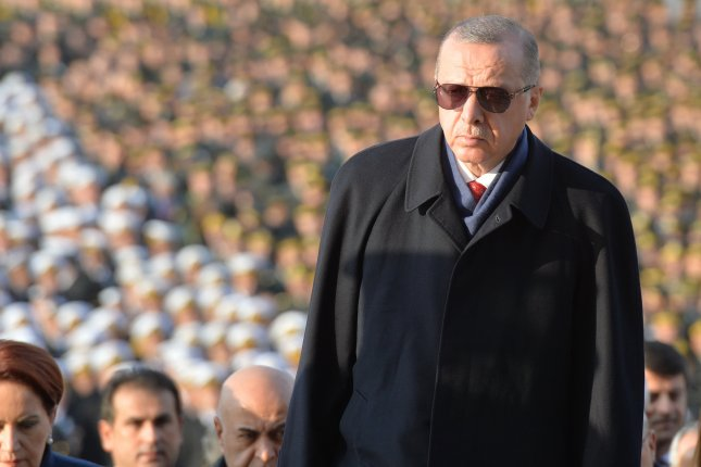The government of Turkish President Recep Tayyip Erdogan, shown here at a ceremony marking the 80th death anniversary of Mustafa Kemal Ataturk, arrested 45 people accused in a failed coup attempt in 2016. Photo by STR/EPA-EFE
