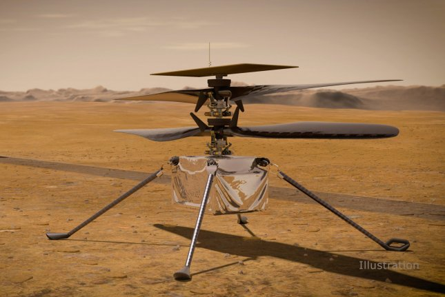 In this artist's concept, NASA's Ingenuity Mars helicopter stands on the Red Planet's surface as NASA's Mars 2020 Perseverance rover rolls away. Photo by NASA/JPL-Caltech