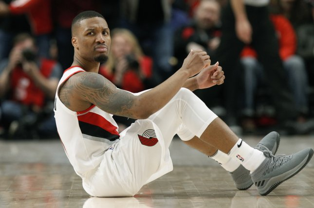 Portland Trail Blazers guard Damian Lillard said he hopes the NBA has a play-in tournament for the No. 7 through No. 12 seed in each conference if the league returns from a coronavirus suspension. Photo by Steve Dipaola/EPA-EFE