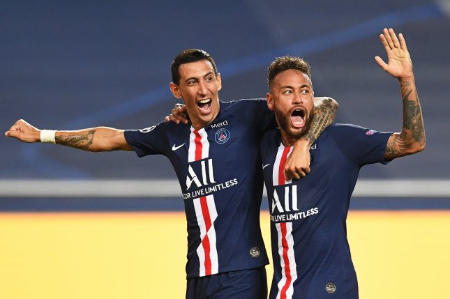 Angel Di Maria (L) of Paris Saint-Germain celebrates with teammate Neymar (R) after scoring during PSG's UEFA Champions League semifinal match against RB Leipzig on Tuesday in Lisbon, Portugal. Photo by Davis Ramos/EPA-EFE
