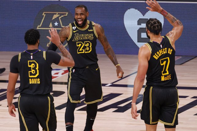 LeBron James (23) and the Los Angeles Lakers now lead the Portland Trail Blazers 3-1 in their first-round Western Conference playoff series after a 20-point win Monday in Orlando, Fla. Photo by John G. Mabanglo/EPA-EFE