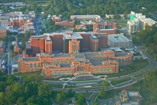 An aerial photograph of the National Institutes of Health Clinical Center in Bethesda, Md. Photo courtesy NIH