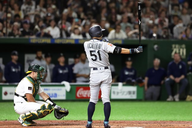 Seattle Mariners outfielder Ichiro Suzuki did not collect a hit in Wednesday's MLB season-opener against the Oakland Athletics at the Tokyo Dome in Japan. Photo by Kiyoshi Ota/EPA-EFE