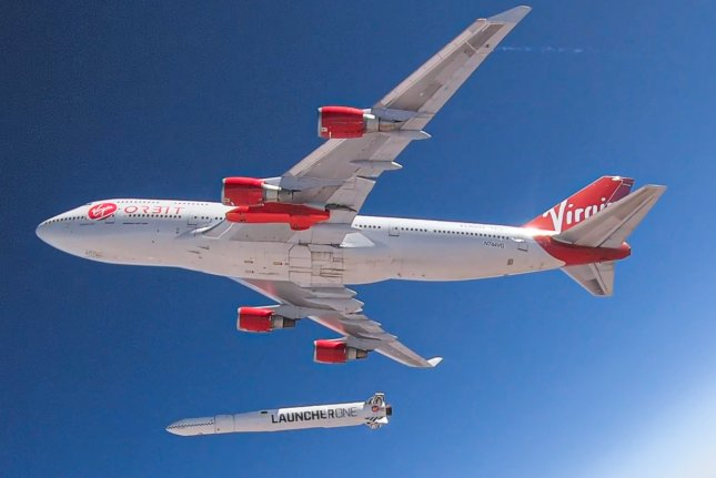 Virgin Orbit terminated the launch of a rocket Monday, released from 747 carrier aircraft Cosmic Girl like this one in summer 2019. File Photo courtesy of Virgin Orbit