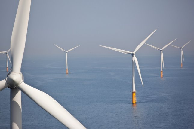 Foundations set for what will become the first offshore wind farm in commercial operation in the United States. Block Island wind farm should be in service by the end of next year. File photo by Teun van den Dries/UPI