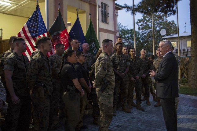 Secretary of Defense Jim Mattis (R) meets with troops at the Resolute Support Headquarters in Kabul, Afghanistan, on April 24, 2017, where a U.S. service member was killed late Wednesday in Afghanistan during operations against the Islamic State. Photo by U.S. Air Force Tech. Sgt. Brigitte N. Brantley/Department of Defense