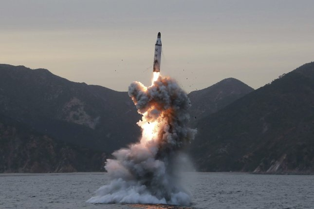 North Korea performs an 'underwater test-fire of a strategic submarine ballistic missile' this month at an undisclosed location. Pyongyang also uncussessfully test-fired a missile on Sunday. Photo by North Korean Central News Agency/EPA