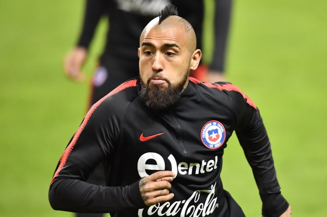 Chile's Arturo Vidal in action during a training session of the Chilean national soccer team on March 23 at Friends Arena in Stockholm, Sweden. Photo by Joans Ekstromer/EPA-EFE