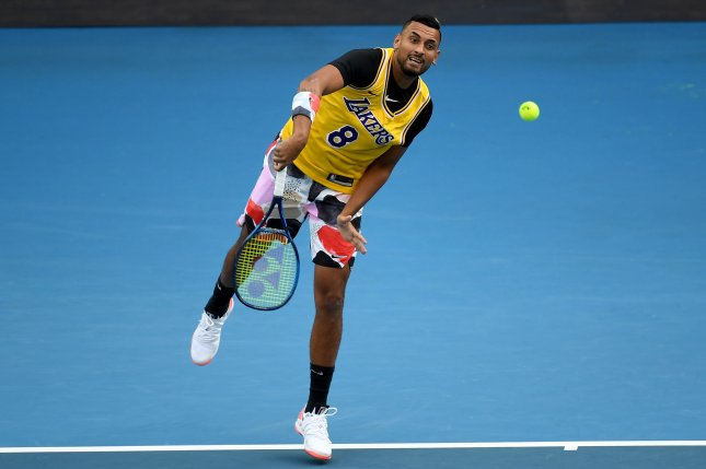 Nick Kyrgios of Australia wears a Kobe Bryant Los Angeles Lakers jersey on Monday during warmups before his match with world No. 1 Rafael Nadal at the 2020 Australian Open in Melbourne. Photo by Lukas Coch/EPA-EFE