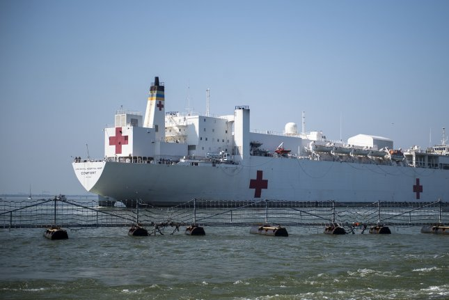The USNS Comfort departs Naval Station Norfolk in Virginia en route to New York City. Comfort will serve as a referral hospital for non-COVID-19 patients currently admitted to shore-based hospitals. Photo by Mass Communication Specialist 2nd Class Jonathan Clay/U.S. Navy