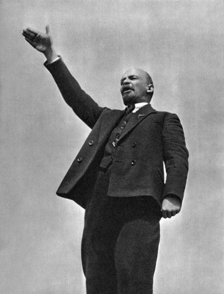 Vladimir Lenin makes a speech in the Red Square at the unveiling of a temporary monument to Stepaz Razin on May 1, 1919. On Aug. 30, 1918, Fanta Kaplan, a member of the Socialist Revolutionary Party, attempted to assassinate Lenin, shooting him twice. File Photo by Grigori Petrowitsch Goldstein/Wikimedia