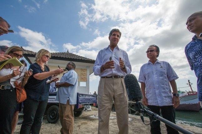 U.S. Secretary of State John Kerry discusses the recent U.S.-led operations against terrorists in Somalia and Libya and the the importance of sustainable fishing practices and protecting the oceans during his visit to Benoa Port in Bali, Indonesia on October 6, 2013. (UPI/[State Department)