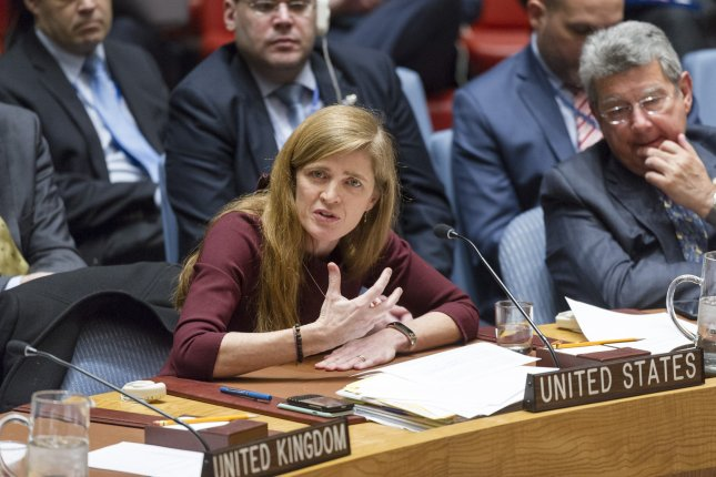Samantha Power, United States Permanent Representative to the United Nations, addresses the Security Council for the last time on January 18, 2017 at the United Nations headquarters in New York. The Security Council met to consider implementation of its resolution 2231 on the Joint Comprehensive Plan of Action (JCPOA) regarding Iran's nuclear program. Photo by Rick Bajornas/UN/UPI