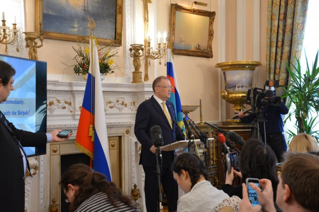 Russian Ambassador to the United Kingdom Alexander Yakovenko (C) speaks during a news conference on the Skripals poisoning case at the Russian Embassy in London on Thursday. Russian spy Sergei Skripal aged 66 and his daughter Yulia became seriously ill in Salisbury, England on March 4, 2018 after exposure to a nerve agent. Photo by EPA-EFE/Russian Foreign Ministry