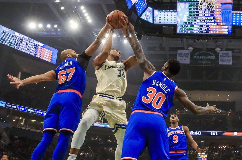 Milwaukee Bucks forward Giannis Antetokounmpo (34) has averaged 30.4 points per game this season, second only to Houston Rockets guard James Harden. File Photo by Tannen Maury/EPA-EFE