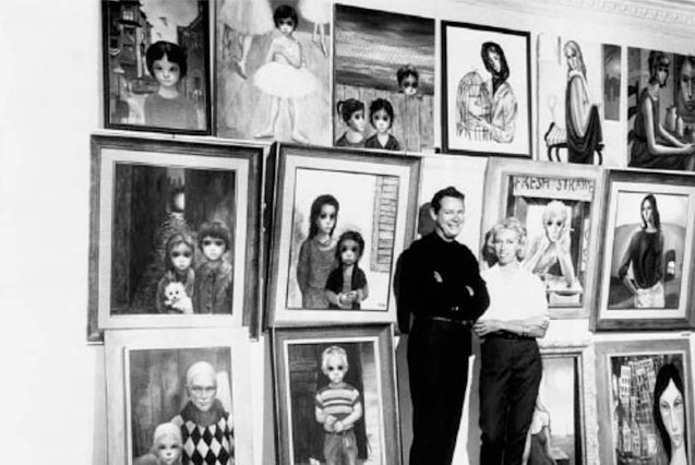 Walter Keane and Margaret Keane stand before several of Margaret's paintings they plan to take to an exhibition in Japan on Aug. 3, 1960. The couple told the photographer at the time that the paintings on the left were Walter's, while the paintings on the right were Margaret's. UPI File Photo