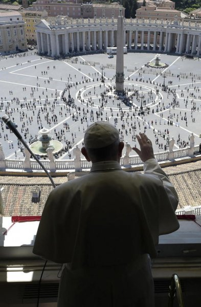 Pope Francis leading the Regina Coeli prayer from the window of the Apostolic Palace overlooking Saint Peter's square at the Vatican City on Sunday. Photo courtesy Vatican Media/EPA-EFE