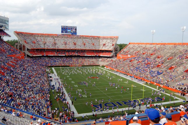 Florida's upcoming game against LSU is in question after the Gators experienced a coronavirus outbreak within the football program. Florida is scheduled to play LSU on Saturday at Ben Hill Griffin Stadium in Gainesville, Fla. File Photo by Bill Ragan/Shutterstock
